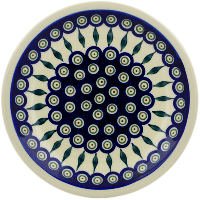 "Polish Pottery Plate 9"" Peacock Leaves"