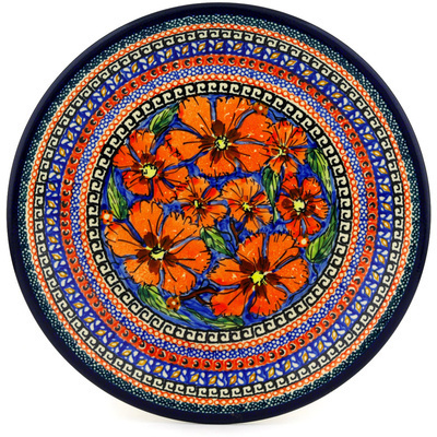 "Polish Pottery Plate 9"" Poppies UNIKAT"