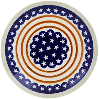 "Polish Pottery Plate 9"" Stars And Stripes Forever"