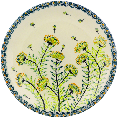 "Polish Pottery Plate 9"" Yellow Dandelions"