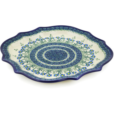 "Polish Pottery Platter 10"" Blue Daisy Circle"