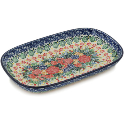 "Polish Pottery Platter 10"" Red Bouquet UNIKAT"