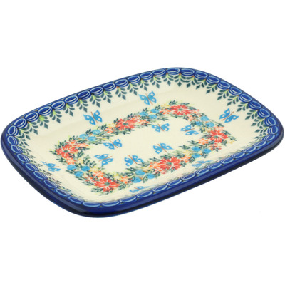 "Polish Pottery Platter 10"" Ring Of Flowers UNIKAT"