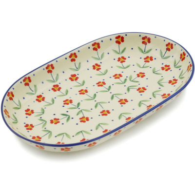 "Polish Pottery Platter 11"" Red Primrose"