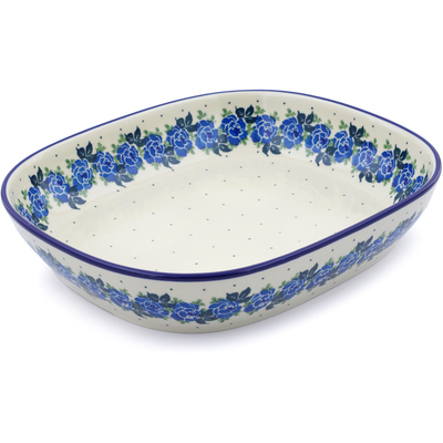 "Polish Pottery Platter 12"" Blue Garland"