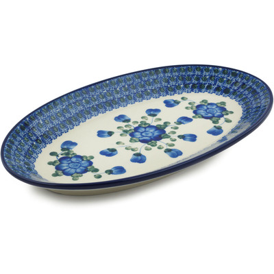 "Polish Pottery Platter 12"" Blue Poppies"