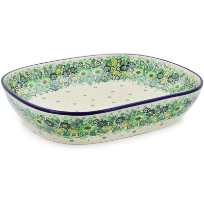 "Polish Pottery Platter 12"" Green Wreath UNIKAT"