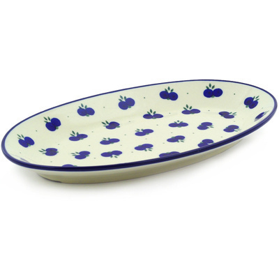 "Polish Pottery Platter 12"" Wild Blueberry"