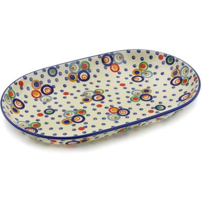 "Polish Pottery Platter 13"" Bubble Machine UNIKAT"