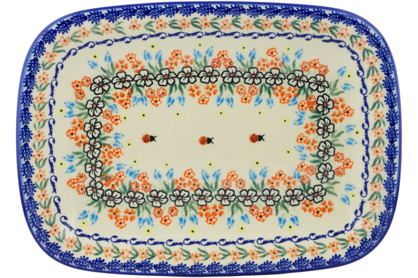 Polish Pottery Platter 13 Fanciful Ladybug