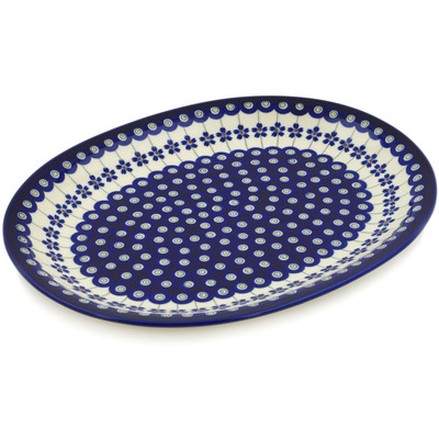 "Polish Pottery Platter 13"" Flowering Peacock"