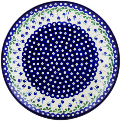 "Polish Pottery Platter 14"" Bleeding Heart Peacock"