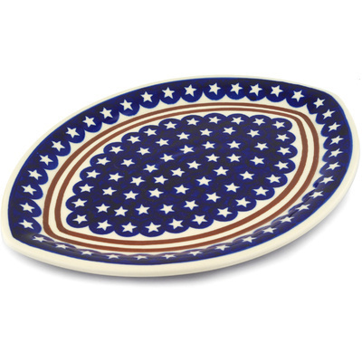 "Polish Pottery Platter 14"" Stars And Stripes Forever"