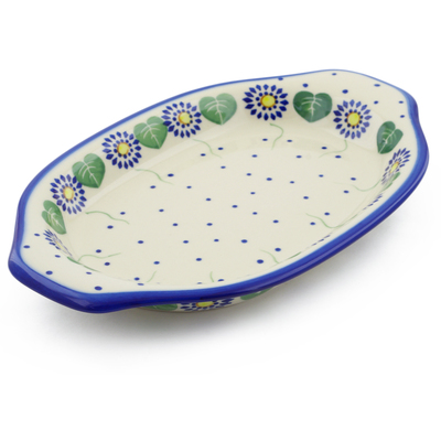 "Polish Pottery Platter with Handles 12"" Blue Daisies"
