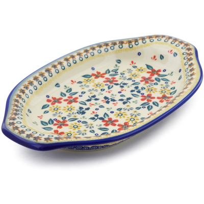 "Polish Pottery Platter with Handles 12"" Red Anemone Meadow UNIKAT"