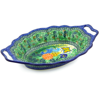 "Polish Pottery Platter with Handles 13"" Spring Garden UNIKAT"