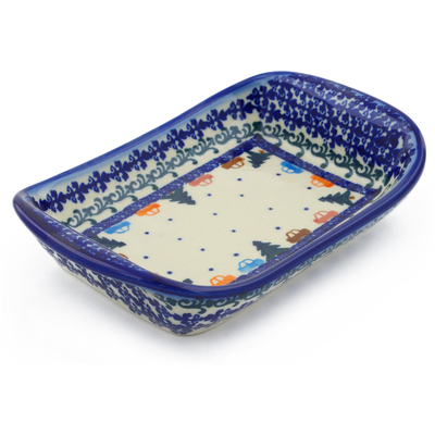"Polish Pottery Platter with Handles 7"" Holiday Drive"