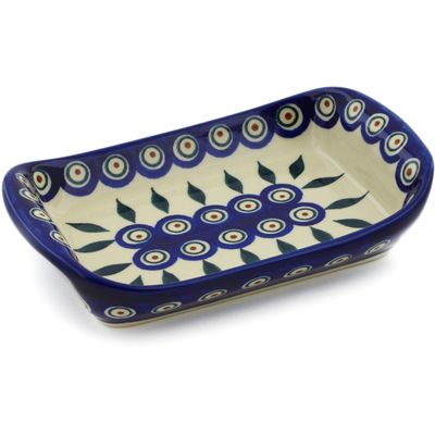 "Polish Pottery Platter with Handles 7"" Peacock"