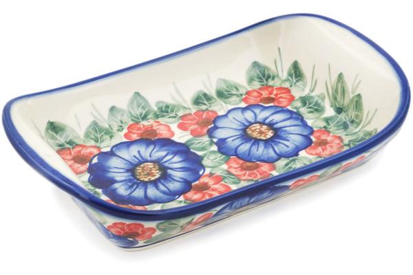 Polish Pottery Platter With Handles 9 Bold Poppies Unikat