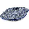 "Polish Pottery Platter with Handles 9"" Flower Bouquet"