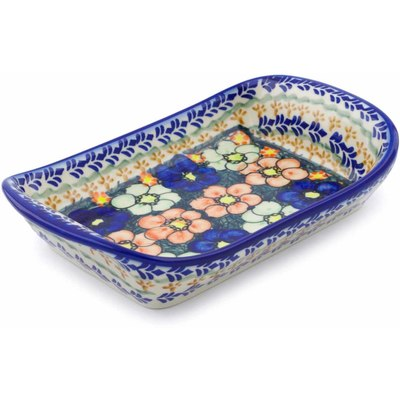 "Polish Pottery Platter with Handles 9"" Poppy Garden UNIKAT"