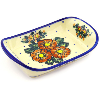 "Polish Pottery Platter with Handles 9"" Red Bouquet"