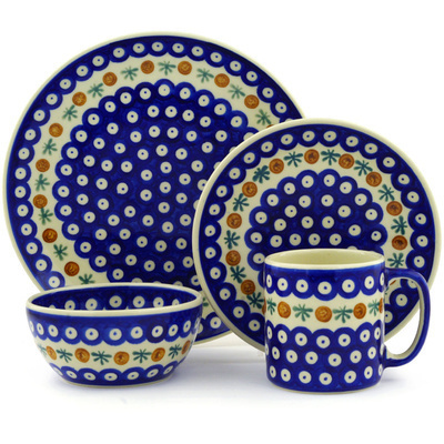 "Polish Pottery Polish Pottery Place Setting 4-Piece: 10½"" dinner plate, 7½"" dessert or side plate, 5¼"" bowl and a 12 oz mug Mosquito"