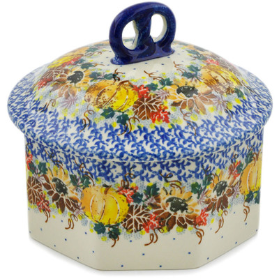 "Polish Pottery Pretzel Jar 6"" Autumn Falling Leaves UNIKAT"