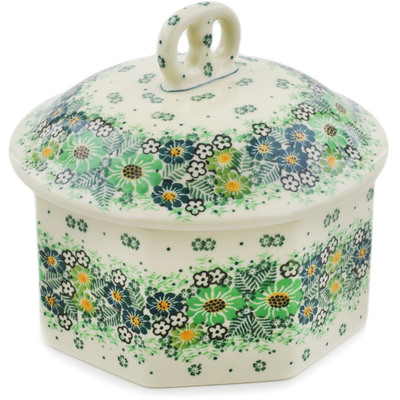 "Polish Pottery Pretzel Jar 6"" Green Wreath UNIKAT"