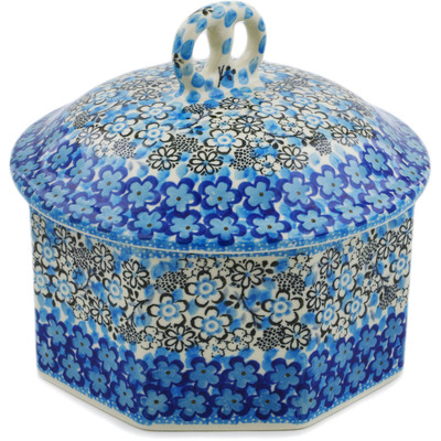 "Polish Pottery Pretzel Jar 6"" Out Of Blue UNIKAT"