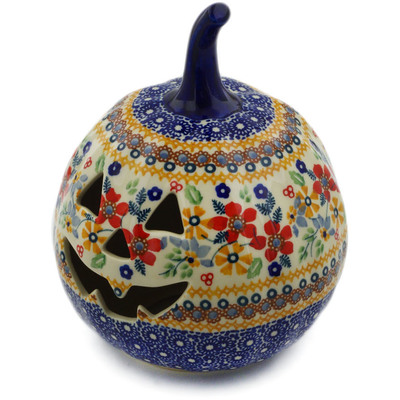 "Polish Pottery Pumpkin Figurine 6"" Summer Bouquet UNIKAT"