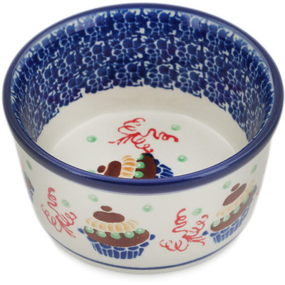 Polish Pottery Ramekin Bowl Small Party With Cupcakes