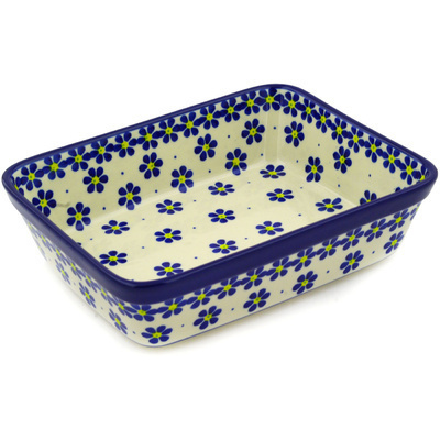 "Polish Pottery Rectangular Baker 10"" Blue Daisies"