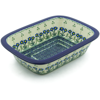 "Polish Pottery Rectangular Baker 10"" Blue Daisy Circle"