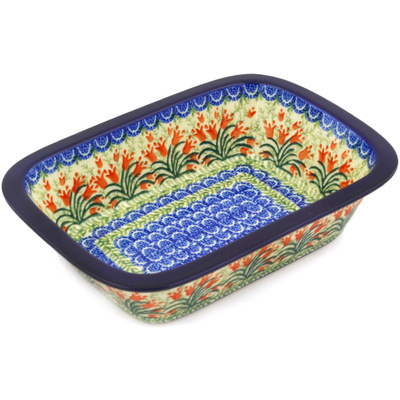 "Polish Pottery Rectangular Baker 10"" Crimson Bells"
