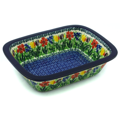 "Polish Pottery Rectangular Baker 10"" Lady Bug Tulips UNIKAT"