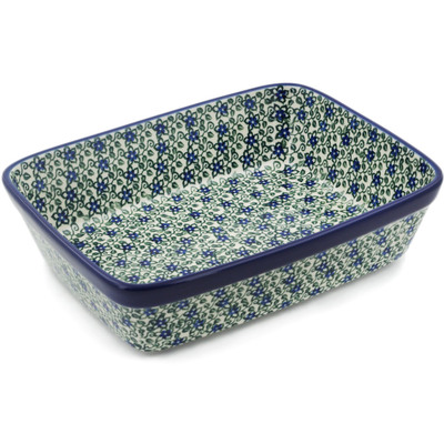 "Polish Pottery Rectangular Baker 10"" Lobelia Vines"