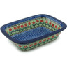 "Polish Pottery Rectangular Baker 10"" Maraschino"