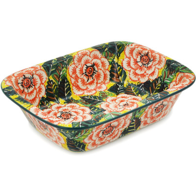 "Polish Pottery Rectangular Baker 10"" Orange Peonies UNIKAT"