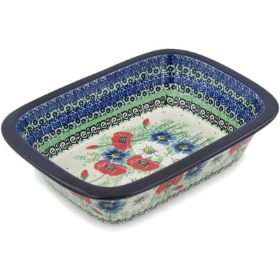 "Polish Pottery Rectangular Baker 10"" Polish Wildflowers UNIKAT"