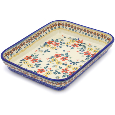 "Polish Pottery Rectangular Baker 10"" Red Anemone Meadow UNIKAT"