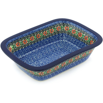 "Polish Pottery Rectangular Baker 10"" Red Zinnia"