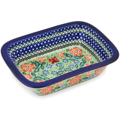 "Polish Pottery Rectangular Baker 10"" Sweet Leilani UNIKAT"