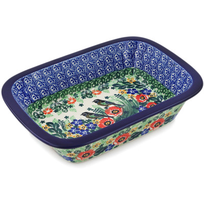 "Polish Pottery Rectangular Baker 10"" Window Views UNIKAT"