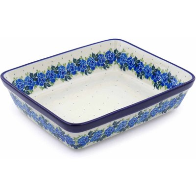 "Polish Pottery Rectangular Baker 11"" Blue Garland"