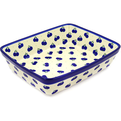 "Polish Pottery Rectangular Baker 11"" Wild Blueberry"