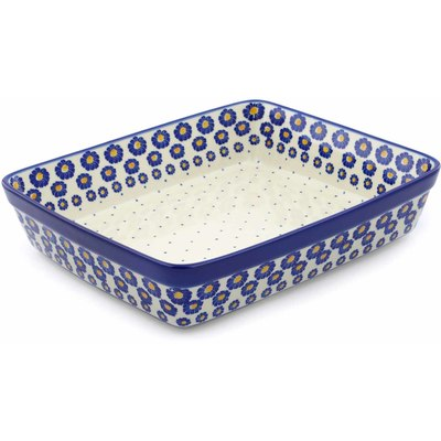 "Polish Pottery Rectangular Baker 12"" Blue Zinnia"