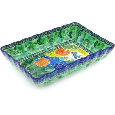 "Polish Pottery Rectangular Baker 12"" Garden Delight UNIKAT"