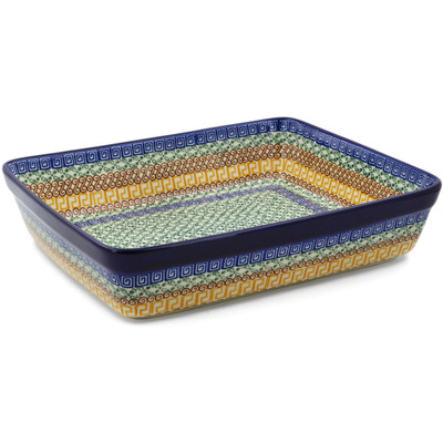 "Polish Pottery Rectangular Baker 12"" Grecian Sea"
