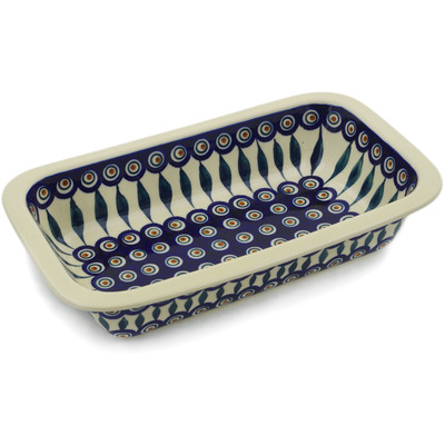 "Polish Pottery Rectangular Baker 12"" Peacock"